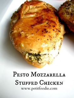 pesto mozzarella stuffed chicken - the boy and I are on a stuffed chicken kick, and this one looks like a winner winner chicken dinner!