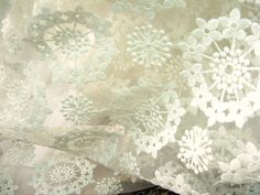 off white organza lace fabric retro floral lace by WeddingbySophie, $19.90