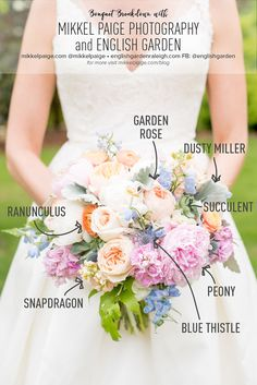 Mikkel Paige Photography Bouquet Breakdown with bridal flowers including pastel peonies, blue thistle, garden roses, snapdragons, larkspur and dusty miller by English Garden.