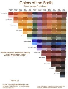 Learn how to create beautiful and varied hues of earth oil paint with this easy to follow chart. Using the natural earth oil paint colors, this color chart shows how to create many color mixtures and