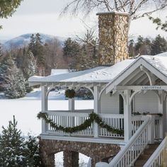 Mirror Lake Inn Resort & Spa Lake Placid, New York tree outdoor snow building Winter house weather home season outdoor structure cottage roof Resort gazebo porch Villa