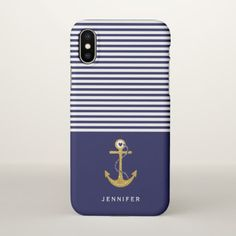 Gold anchor navy blue white stripes nautical iPhone x case - modern gifts cyo gift ideas personalize
