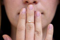 Tiny Heart Ring  Diamond Heart Ring  Heart Diamond by artemer