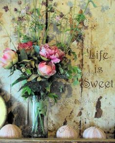 Life is Sweet: A Shabby Altered Fine Art Motivational Photographic Print