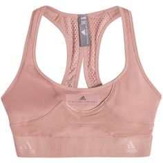 Adidas by Stella McCartney High Intensity Sports Bra ($81) ❤ liked on Polyvore featuring activewear, sports bras, pink, adidas sports bra, adidas, adidas activewear, pink sportswear and pink activewear