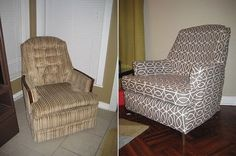 The chair on the left: dated and worn.  The chair on the right: gorgeous and new.  Guess what?  It's the same chair!  Behold the magic of the slipcover!  And the best part?  I found step-by-step slipcover instructions that look so easy we should all be rehabbing old chairs this weekend!