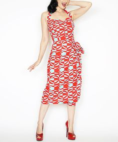 Another great find on #zulily! Turquoise & Red Geometric Sweetheart Halter Dress #zulilyfinds