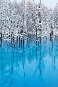 etherealvistas: Blue Pond at Snow (Japan) by Kent Shiraishi