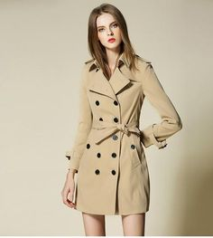 8156ac3232 High quality Trench coat women outerwear Mid long elegant female overcoat  Beige Trench Coat, Trench