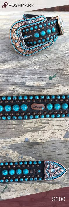 Authentic Turquoise Studded + Swarovski Belt New with tags. Kippys Accessories Belts
