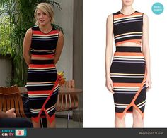 Caroline's multi colored striped crop top and skirt on The Bold and the Beautiful.  Outfit Details: https://wornontv.net/58617/ #TheBoldandtheBeautiful