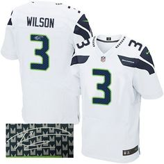 """$23.88 at """"MaryJersey""""(maryjerseyelway@gmail.com) Nike Seahawks #3 Russell Wilson White Men's Stitched NFL Elite Autographed Jersey"""