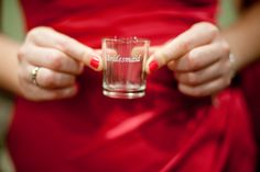 engraved shot glasses for the wedding party.. good photo op for the group