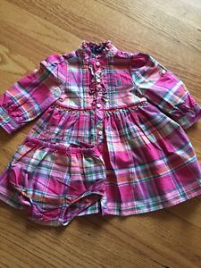 Polo Ralph Lauren Baby Girls 9 Months Pink Plaid Dress Matching Bloomers Layette | eBay