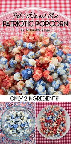 red white and blue popcorn Captain America Party, Captain America Birthday, 4th Of July Party, Fourth Of July, Blue Popcorn, Sweet Popcorn, Popcorn Recipes, Popcorn Snacks, Candy Popcorn