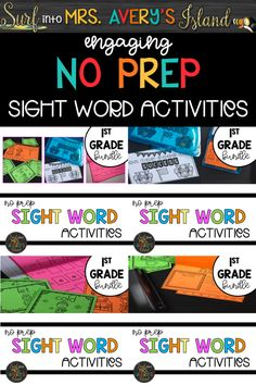 This first grade sight word activities bundle is perfect for increasing your students' reading fluency and reading comprehension skills.  Click the link to discover a variety of FUN NO PREP activities to incorporate into your reading lesson plans!  Have your students reading like a champ with these engaging worksheets, flip books, flash cards, and more!