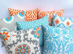 One Orange and Teal Blue Euro sham 24x24 or 26x26 Inch Floor Pillow Aqua Teal Turquoise