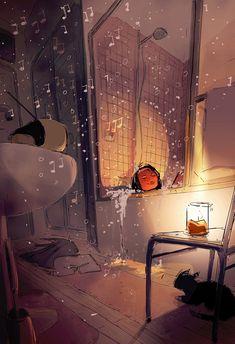 By Pascal Campion Pretty Art, Cute Art, Alone Art, Pascal Campion, Wow Art, Cute Illustration, Aesthetic Art, Cute Drawings, Art Inspo