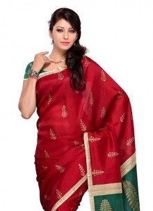 Mesmerizing Art Silk Red Casual Saree