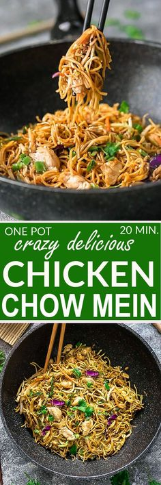 This is the BEST recipe for authentic Chicken Chow Mein from a top Chinese Restaurant chef. It is the perfect easy weeknight meal and the best part of all, it comes together in under 20 minutes in just one pot! Forget calling greasy takeout, this simple dish is so much better with the most delicious flavors. Seriously the best!! #takeoutfakeout #chowmein #best #onepan #onepot #delicious #betterthantakeout #chicken #noodles