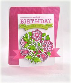 Folk Art Birthday Wishes Card by Debbie Olson for Papertrey Ink (January 2013)