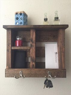 Pallet wood organizerentryway rackmail by WOODSCRAPPERSART on Etsy
