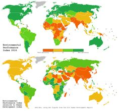 Environmental Performance Index First map shows the EPI of each country as of the 2016 report, coloured by quartile. (https://issuu.com/2016yaleepi/docs/epi2016_final) Second map shows EPI divided by HDI, so you can see the performance of each...