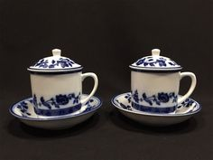 Williams Sonoma Cups and Saucers White Blue Floral Set of 2 with Lids #WilliamsSonoma