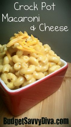 Crock Pot Macaroni and Cheese. This was actually really good. It would be great with chicken as well.