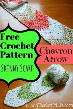 Chevron Arrow Skinny Scarf - Free Pattern Crochet Skinny Scarf that uses the Chevron Style to create an arrow style scarf. One Skein Crochet, Crochet Men, Chevron Crochet, Baby Afghan Crochet, Crochet Quilt, Crochet For Boys, Crochet Scarves, Free Crochet, Crochet Patterns
