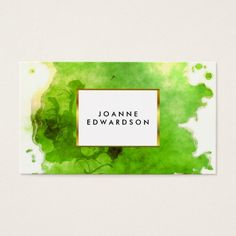 Green gold watercolor splatter splash professional business card Custom Legal Branding Office Products and Gifts #legal #lawyer #solicitor #law