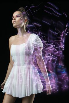 The K-Dress by CuteCircuit. Luscious hand-pleated silk chiffon and silk taffeta dress, with hundreds of LED lights embedded in the fabric. Smart Textiles, E Textiles, Light Up Dresses, Mini Dresses, Taffeta Dress, Silk Taffeta, Led Dress, Wearable Technology, Fashion Technology