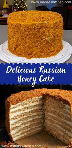 Delicious Russian Honey Cake - Maria's Kitchen - - Thеrе аrе 3 dіffеrеnt wауѕ tо mаkе thіѕ саkе…thе hаrd wау, thе hаrdеr way, and the wау wе'rе gonna dо …. Russian Honey Cake, Russian Cakes, Honey Cake Recipe Easy, Great Desserts, Dessert Recipes, Honey Cupcakes, Tolle Desserts, Bowl Cake, Layer Cake Recipes