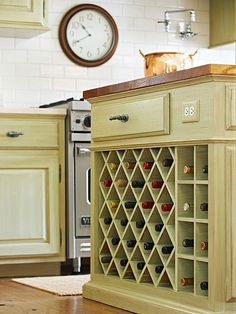While some wine lovers need a full cellar to house a collection of wine bottles, most of us are content to keep a few favorite bottles on hand. Build storage space into your cabinetry with a wine bottle holder insert. You can also retrofit an existing cabinet by removing the door and having an insert built. Slide it in and stock your supply with all your favorite reds and whites. /