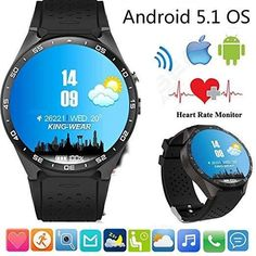 100% Original KW88 Android 5.1 Smart Watch Phone MTK6580 1.39» 400*400 Screen 2.0MP Camera #smartwatch for iphone Xiaomi
