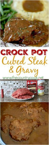 Crock Pot Cubed Steak with Gravy recipe from The Country Cook