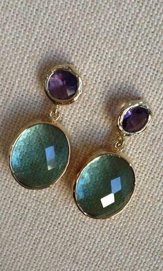 Purple Amethyst and Erinite Glass Post Earrings