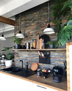 New Ideas House Interior Cosy Salons Home Decor Kitchen, Interior Design Kitchen, New Kitchen, Home Kitchens, Diy Home Decor, Awesome Kitchen, Kitchen Ideas, Room Decor, Vintage Industrial Decor