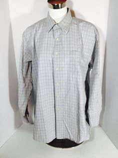 Men's Land's End Long Sleeve Button Down Shirt Gray, Red, Blue Size 17.5-34 G15  | eBay