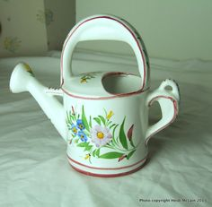 Vintage Hand-Painted Ceramic Watering Can, Made in Portugal: love the top handle