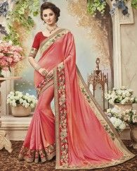 1. Dark Peach burfi silk sari 2. Beautified with exclusive hand made border & boota work 3. Comes with a matching embroidered art silk unstitched blouse
