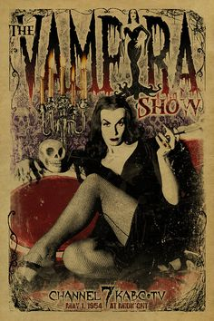 Vampira poster. The Vampira Show. 12x18. Kraft by UncleGertrudes, $22.00