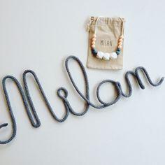 Welcome Milan ! Deco bébé / prénom en tricotin / cadeau naissance / Wool Word