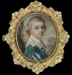 Portrait miniature of a Young Gentleman, possibly William Courtney, 9th Earl of Devon (c.1768-1835), half-turned, wearing a green robe and lace cravat, landscape in the background, c.1775, by James Scouler (1741-1812)