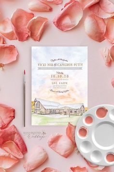 This fall Tennessee wedding at L and L Farm features a watercolor painting of the wedding venue on the invitation with a sunset in the background and a scene from the historic creek on the RSVP card. Custom watercolor invitation by Hand-Painted Weddings. #handpaintedweddings #weddinginspo #watercolorweddings #farmwedding #tennesseewedding #rusticwedding Farm Wedding, Wedding Signs, Rustic Wedding, Wedding Venues, Destination Wedding Invitations, Wedding Stationery, Hand Painting Art, Watercolor Painting, Watercolor Wedding Invitations