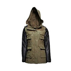 Steve Madden's military-style fall jacket features four front cargo pockets, faux leather long sleeves and drawstrings at the waist and hem for a tapered fit. A hood with earflaps enhances the layer's cold-weather loo