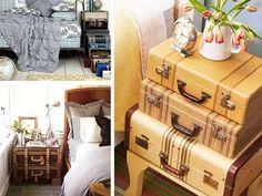 Tavolino comodino ~ Tavolino da caffè con valigia vintage rivestita di spartiti