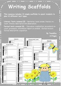 This resource includes 13 simple scaffolds to assist students to plan 13 different text types. Literary Texts covered (5) – Narrative, book review, literary recount, literary description and observation. Factual texts covered (8) – Discussion, explanation, procedural recount, procedure, information report on animals, factual recount, factual description, exposition.