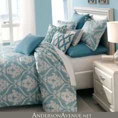 The Tucson bedding collection from Michael Amini is now shipping in king and queen size sets.  This bedding ensemble is rich with designer features including contrasting welt, embroidered accents pillows and applique accent pillows.  The quilted euro shams are a perfect accent to bring the whole set together.