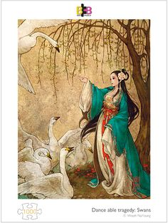 dance-able-tragedy-Swans 1000pcs by Wooh NaYoung #bnbpuzzle #puzzlelife #jigsaw #puzzle #alice #wonderland #korean #korea #traditional #WoohNaYoung